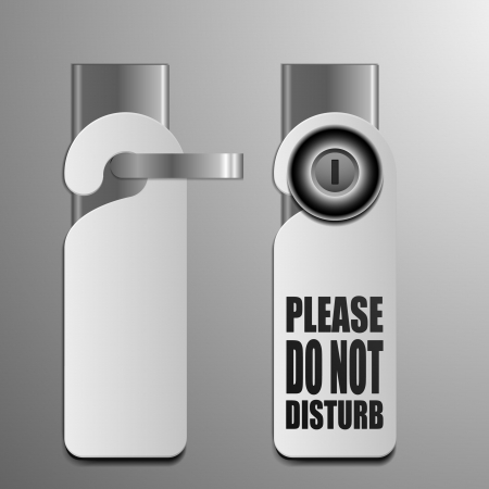 detailed illustration of do not disturb sheets with different door knobs used in hotels and motels Vector