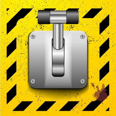 detailed illustration of a lever in upright position on a yellow construction style background Vector