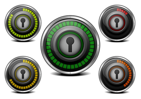 illustration of a metal framed password security meter with different levels Stock Vector - 22952193