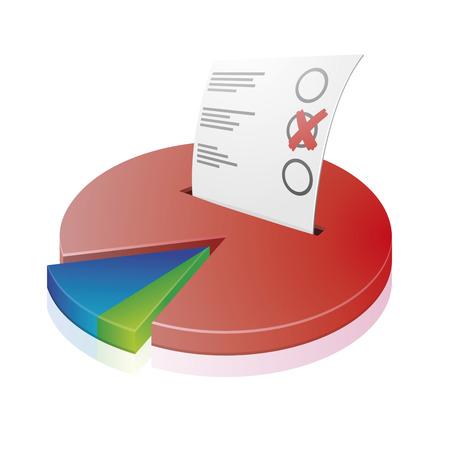 voting ballot: ilustraci�n detallada de un diagrama circular con una papeleta de voto, s�mbolo para la votaci�n Vectores