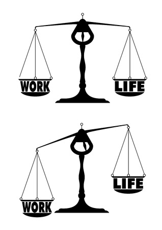 detailed illustration of two scales with work life balance terms Stock Vector - 22952210