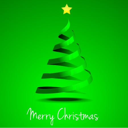 detailed illustration of of a stylized christmas tree with yellow star, eps 10 vector Vector