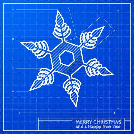 detailed illustration of a snowflake on a blueprint background Vector
