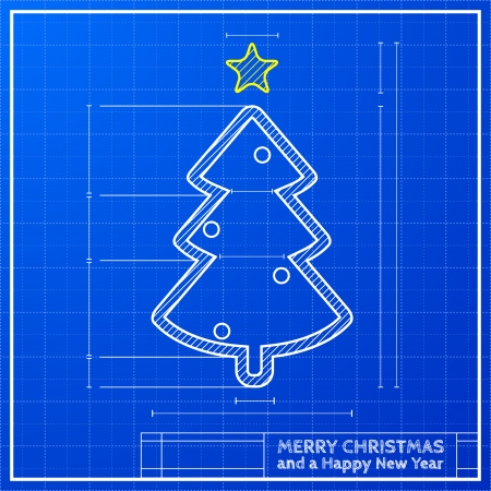 detailed illustration of a modern style christmas tree on a blueprint background, eps 10 vector Illustration