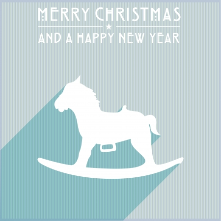 detailed illustration of a stylized rocking horse christmas background Vector
