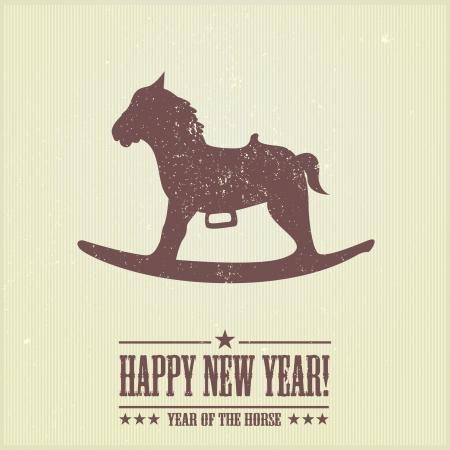 schommelpaard: gedetailleerde illustratie van een gestileerde hobbelpaard kerst achtergrond met grunge effecten