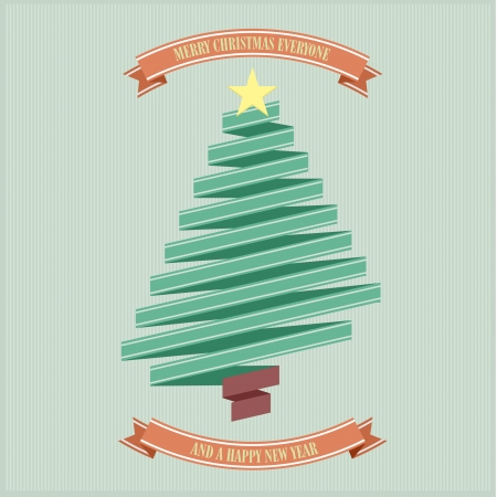 stylized retro ribbon christmas tree with yellow star, eps10 vector Vector