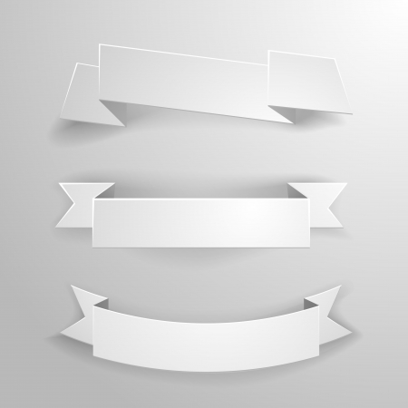 curved ribbon: detailed illustration of a set of white paper ribbons and banners