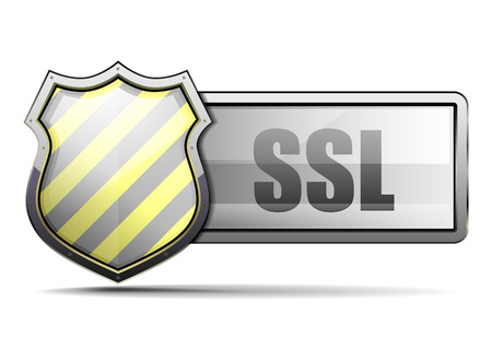 ssl: detailed illustration of a coat of arms with yellow and black stripes and SSL typing, symbol for security, eps 10 vector
