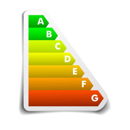eficiencia energetica: ilustraci�n detallada de una pegatina de calificaci�n de eficiencia energ�tica Vectores
