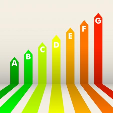 eficiencia energetica: ilustraci�n detallada de un fondo de calificaci�n de eficiencia energ�tica