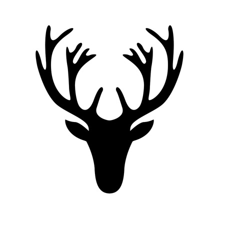 geyik: beyaz izole bir geyik kafa silueti illüstrasyon