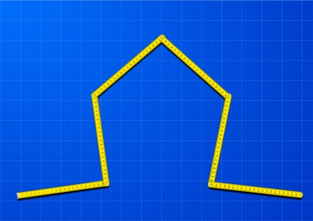 measuring tape: illustration of a yellow measure tape shaped as a house on a blueprint