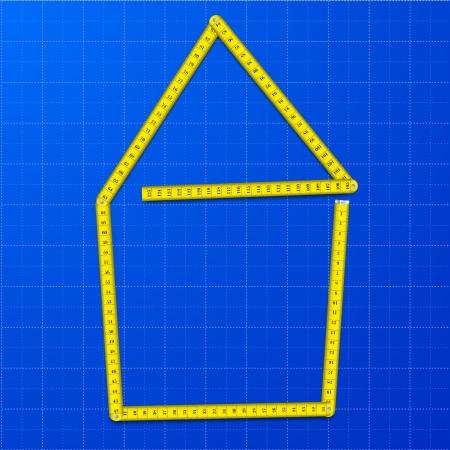 青写真背景、eps10 ベクターの家として形の黄色の測定テープの図