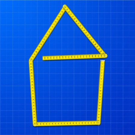 illustration of a yellow measure tape shaped as a house on a blueprint background, eps10 vector 向量圖像