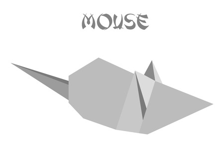 geometric shape illustration of an origami mouse Vector