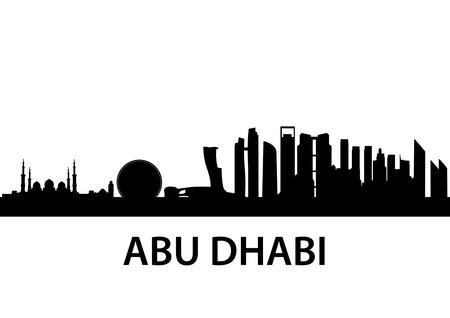 아부 다비, 아랍 에미리트의 자세한 스카이 라인의 그림