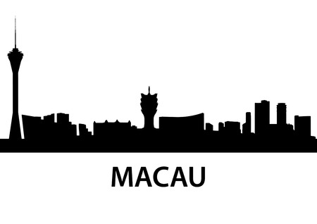 macau: detailed skyline illustration of Macau, China
