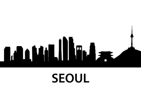 korea: detailed skyline illustration of Seoul, South Korea Illustration