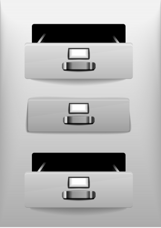 illustration of open and closed white drawers, eps 10 Vector