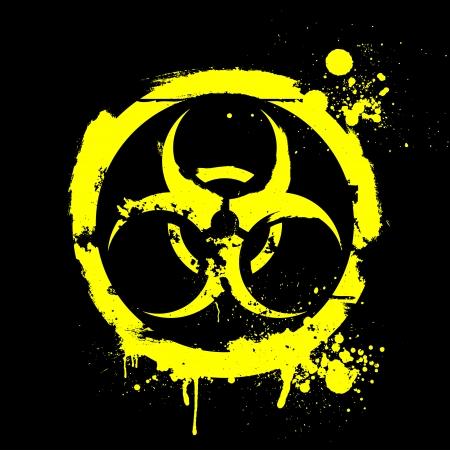 riesgo quimico: ilustración detallada de una señal de advertencia de riesgo biológico roñoso