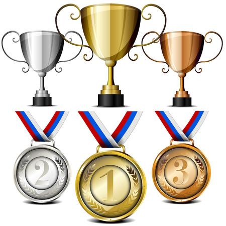 set van trofeeën en medailles met lauwerkrans en brengen nummers