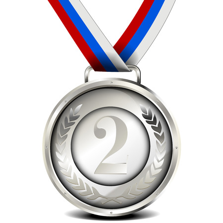 silver medal: illustration of a ribboned silver medal with laurel wreath and number