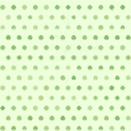 illustration of dots filled with shamrocks, seamless pattern Vector