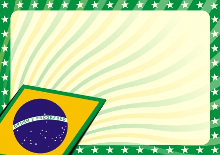 detailed modern background illustration with stars border and brazilian flag elements Stock Vector - 25026562