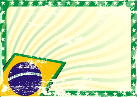 brazil symbol: detailed grungy background illustration with stars border and brazilian flag elements