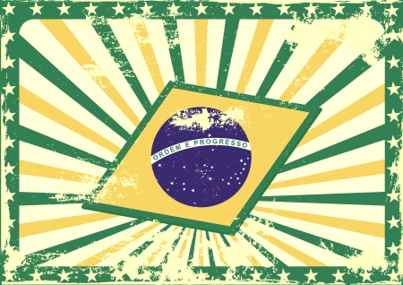 detailed grungy background illustration with stars border and brazilian flag elements Vector