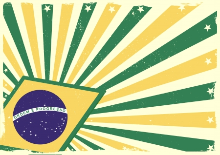 detailed grungy background illustration with stars and brazilian flag elements Vector