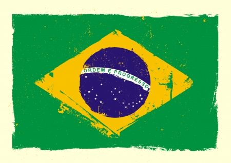 brazilian flag: detailed illustration of a grungy heart with brazilian flag