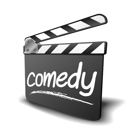 take action: detailed illustration of a clapper board with comedy term, symbol for film and video genre