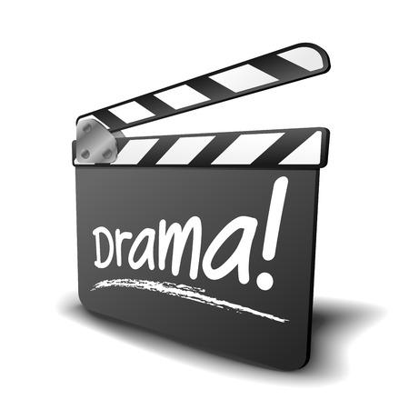 드라마 용어, 영화 및 비디오 장르에 대한 기호 했 보드의 자세한 그림 일러스트