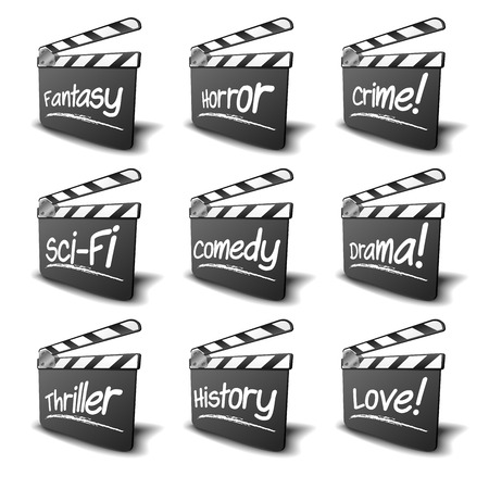 genre: detailed illustration of a clapper boards with genre terms, symbol for film and video