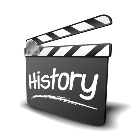 film history: detailed illustration of a clapper board with history term, symbol for film and video genre