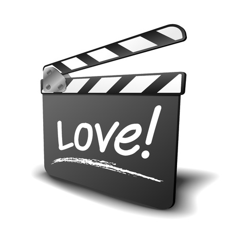 flick: detailed illustration of a clapper board with love term, symbol for film and video genre