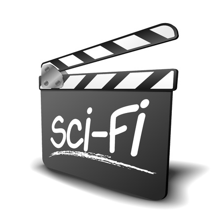 clap board: detailed illustration of a clapper board with Sci-Fi term, symbol for film and video genre Illustration