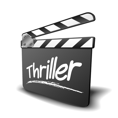 thriller: detailed illustration of a clapper board with thriller term, symbol for film and video genre Illustration