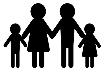 minimalistic illustration of a conventional family model with man and woman having children Vector