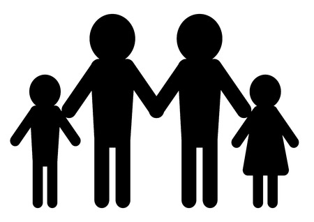 minimalistic illustration of a family model with two men having children Vector