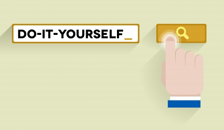 minimalistic illustration of a search bar with do it yourself keyword and hand over the button Vector