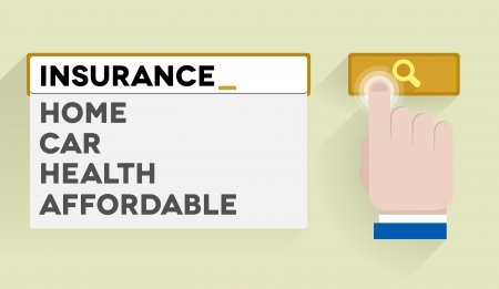 minimalistic illustration of a search bar with insurance keywords and associations Illustration