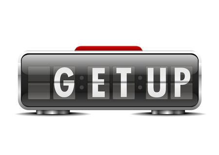 get up: detailed illustration of an alarm clock with term get up instead of digits Illustration