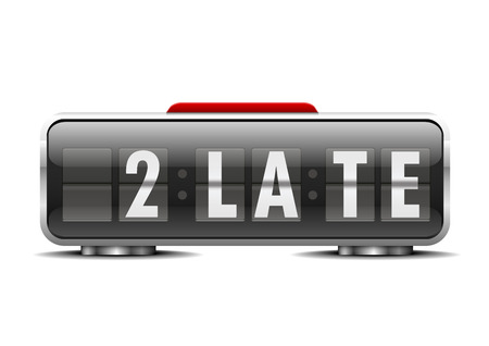 detailed illustration of an alarm clock with term 2 late instead of digits Vector