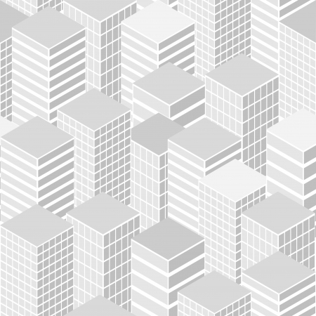 detailed illustration of a seamless cityscape background pattern Vector