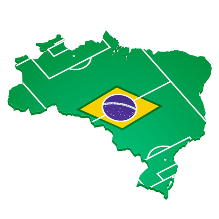detailed illustration of a brazilian map with flag elements and footballfield Vector