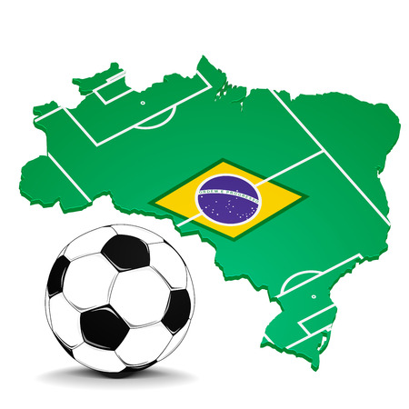 detailed illustration of a brazilian map with flag elements, football and footballfield Vector