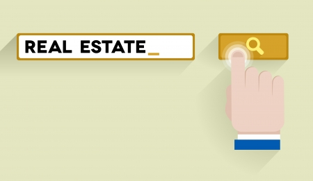 keyword: minimalistic illustration of a search bar with real estate keyword and hand over the button